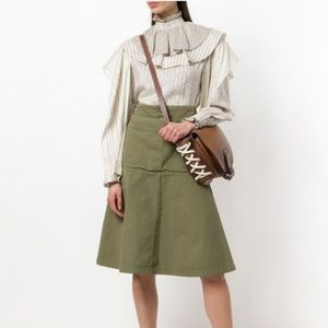 JW Anderson Green Fold Front Utility Skirt